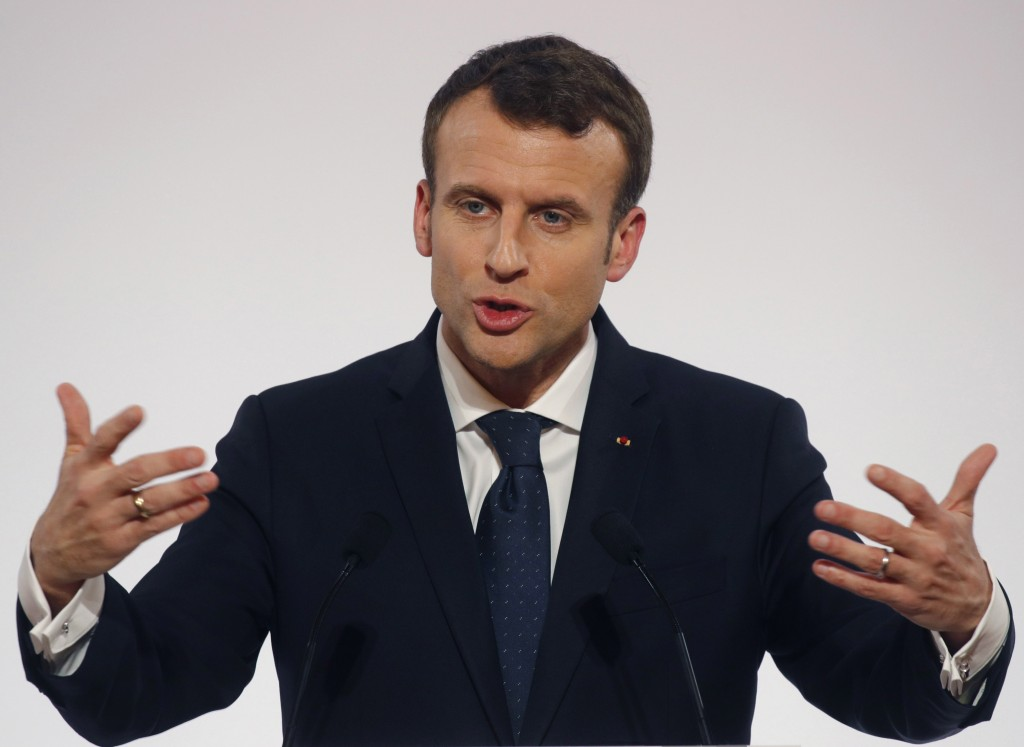 FILE - In this Jan. 30 2018 file photo, French President Emmanuel Macron delivers his New Year speech to civil servants and constitutional bodies at t