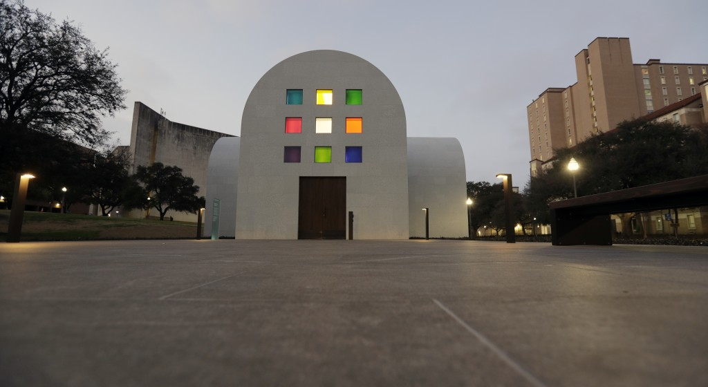 """In this Monday, Feb. 12, 2018, photo, Ellsworth Kelly's """"Austin"""" at the Blanton Museum of Art is seen at dusk, in Austin, Texas. The exhibit, a 2,715-"""