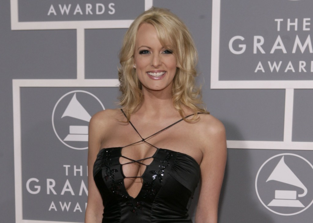 FILE - In this Feb. 11, 2007, file photo, Stormy Daniels arrives for the 49th Annual Grammy Awards in Los Angeles. President Donald Trump's personal a