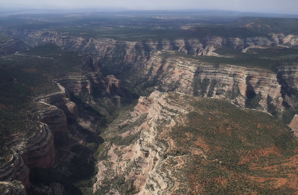 FILE - This May 8, 2017, file photo shows an aerial view of Arch Canyon within Bears Ears National Monument in Utah. The federal government says it do