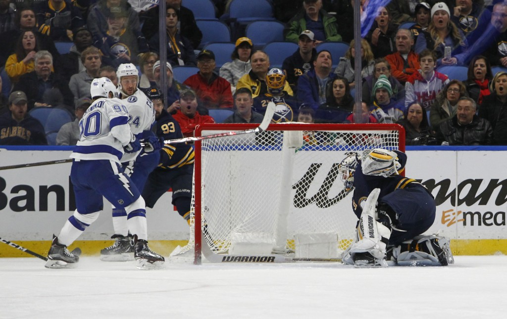 Tampa Bay Lightning forward Vladislav Namestnikov (90) scores past Buffalo Sabres goalie Chad Johnson (31) during the second period of an NHL hockey g