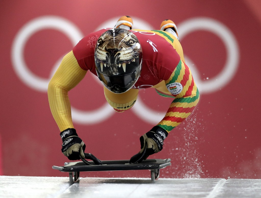 Akwasi Frimpong, of Ghana, starts his practice run during the men's skeleton training at the 2018 Winter Olympics in Pyeongchang, South Korea, Wednesd