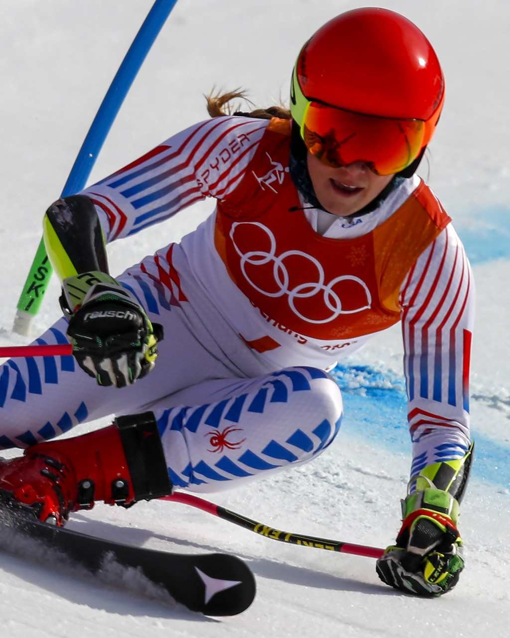 Mikaela Shiffrin, of the United States, skies to a gold medal during the second run of the Women's Giant Slalom at the 2018 Winter Olympics in Pyeongc