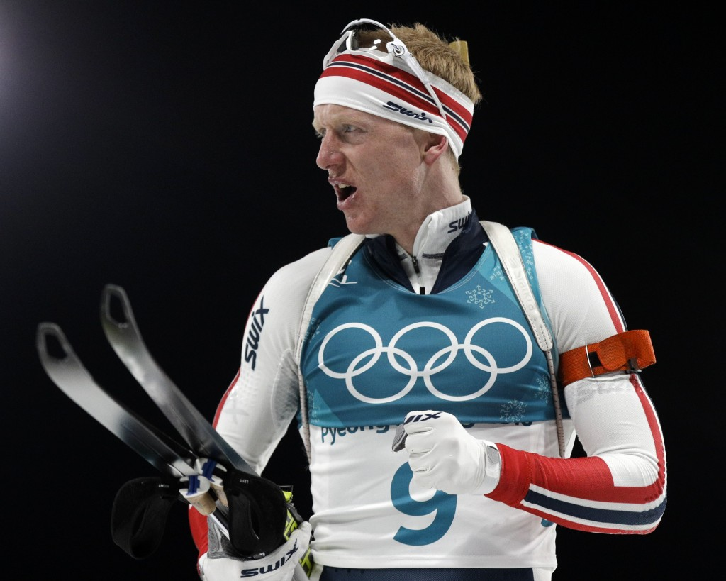 Johannes Thingnes Boe, of Norway, reacts to his time in the finish area during the men's 20-kilometer individual biathlon at the 2018 Winter Olympics