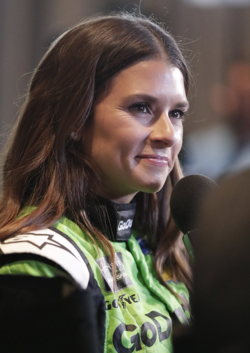 Danica Patrick takes part in an interview during media day for the NASCAR Daytona 500 auto race at Daytona International Speedway, Wednesday, Feb. 14,