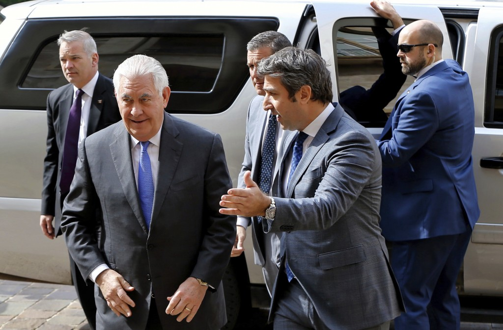 U.S. Secretary of State Rex Tillerson, left, arrives at the Government House to meet with Lebanese Prime Minister Saad Hariri, in downtown Beirut, Leb
