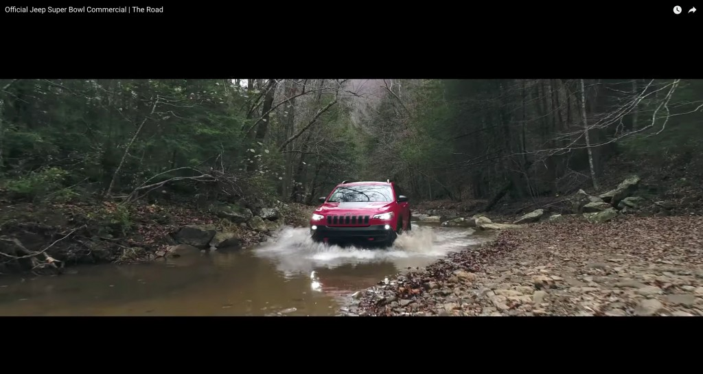 This image made video obtained from the Jeep brand YouTube channel of Fiat Chrysler Automobiles shows part of its commercial video aired during the Su
