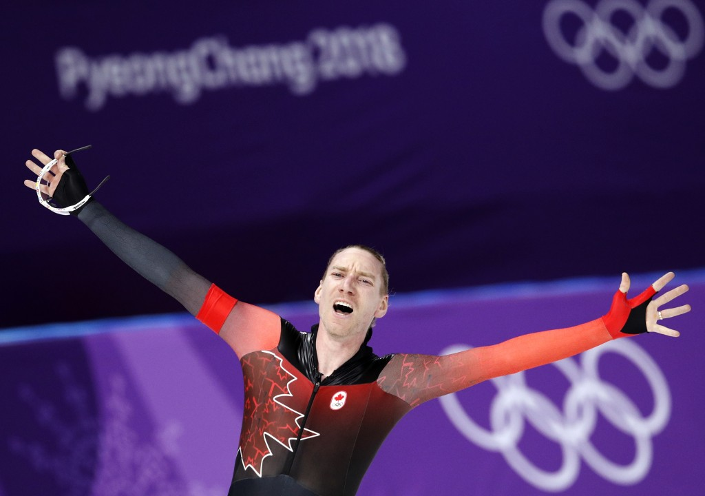 Ted-Jan Bloemen of Canada reacts after setting a new Olympic record breaking the one that Jorrit Bergsma of The Netherlands set in the previous race o