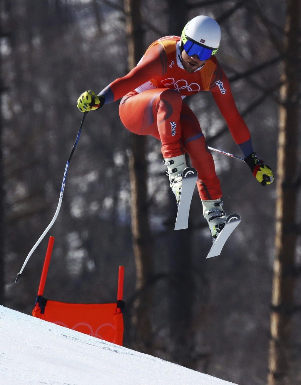 Norway's Kjetil Jansrud skis during the men's downhill at the 2018 Winter Olympics in Jeongseon, South Korea, Thursday, Feb. 15, 2018. (AP Photo/Aless