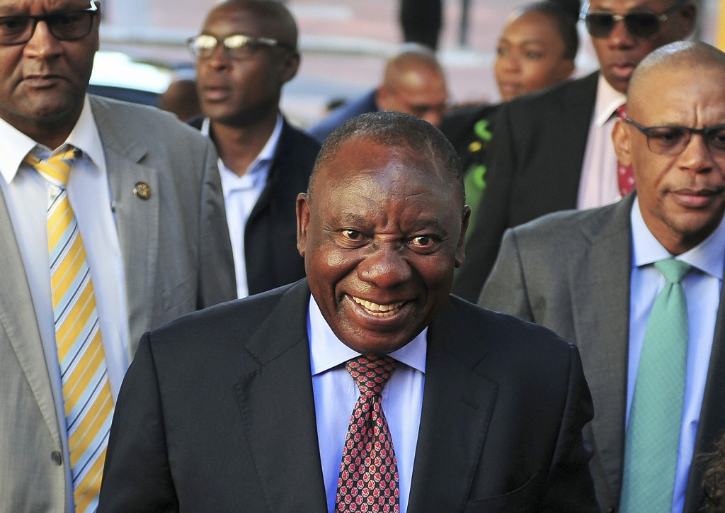 FILE - In this Feb. 11, 2018, file photo, South African Deputy President and African National Congress party President Cyril Ramaphosa arrives at the