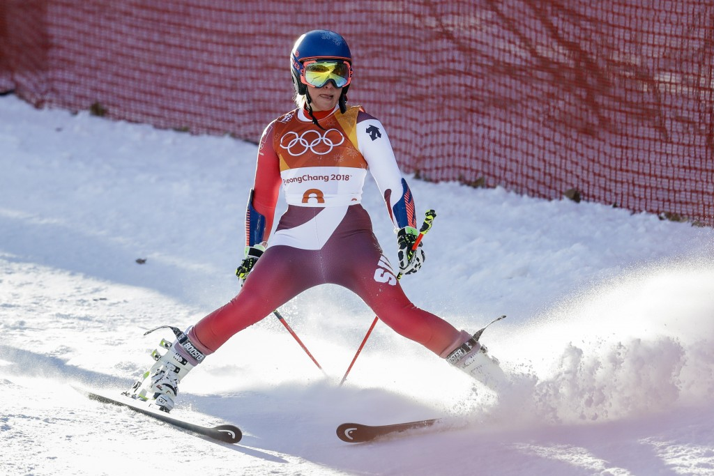 Lara Gut, of Switzerland, skis down after leaving the course during the first run of the Women's Giant Slalom at the 2018 Winter Olympics in Pyeongcha