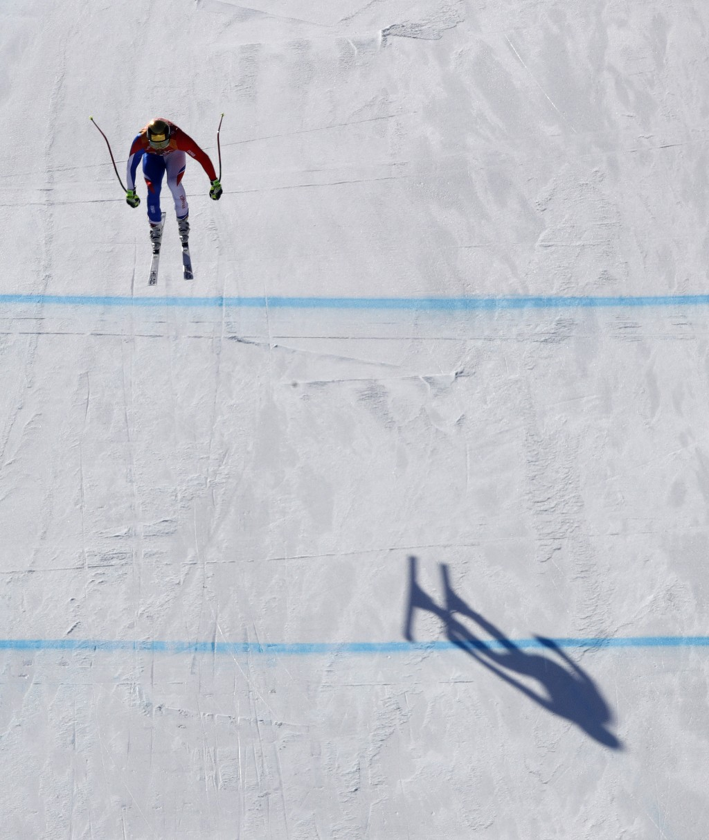 France's AdrienTheaux competes in the men's downhill at the 2018 Winter Olympics in Jeongseon, South Korea, Thursday, Feb. 15, 2018. (AP Photo/Charli