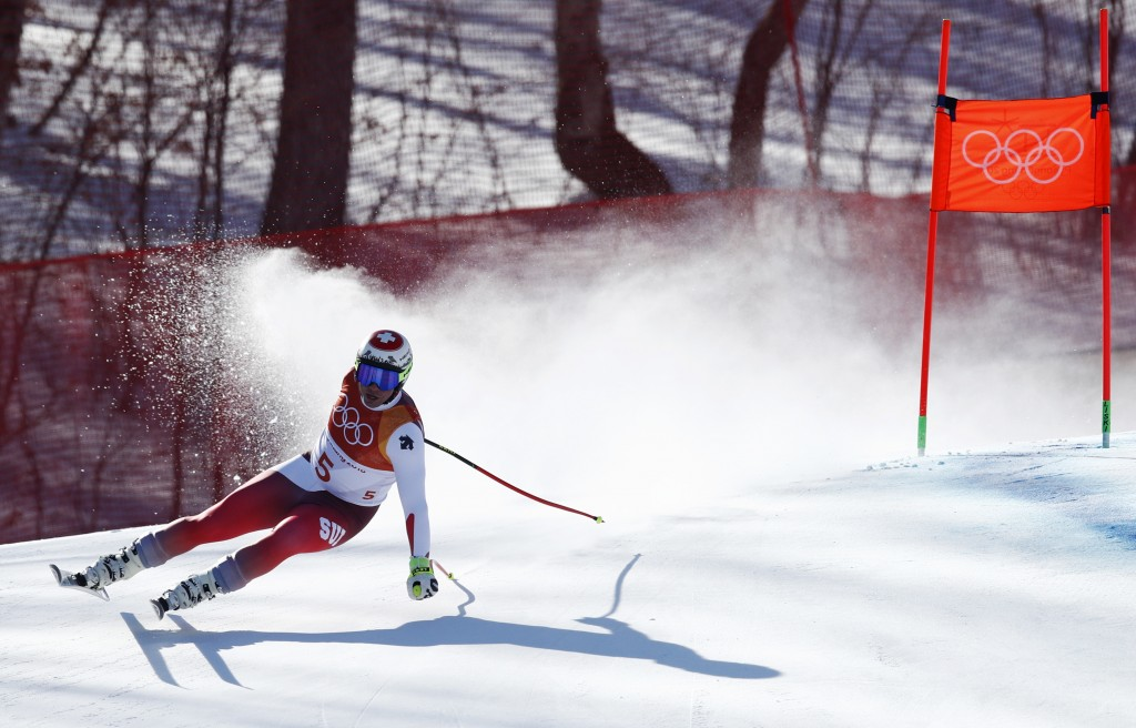 Switzerland's Beat Feuz skis during the men's downhill at the 2018 Winter Olympics in Jeongseon, South Korea, Thursday, Feb. 15, 2018. (AP Photo/Patri