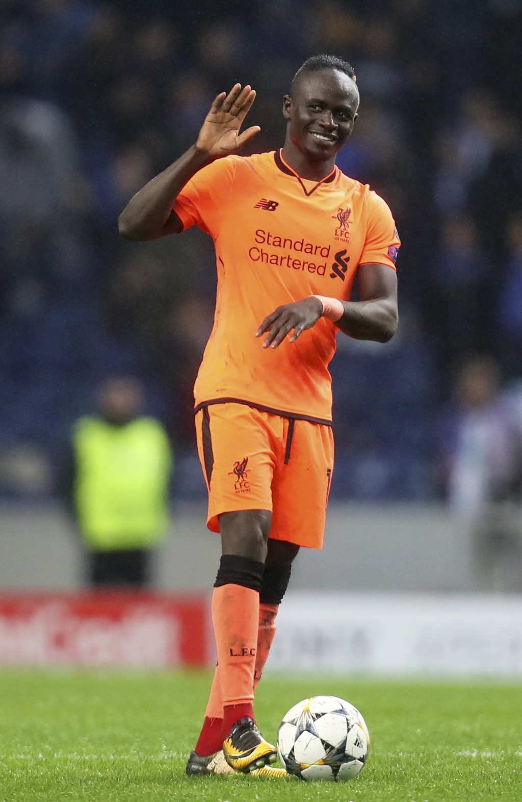 Liverpool's Sadio Mane celebrates at the end of the Champions League round of sixteen first leg soccer match between FC Porto and Liverpool FC at the