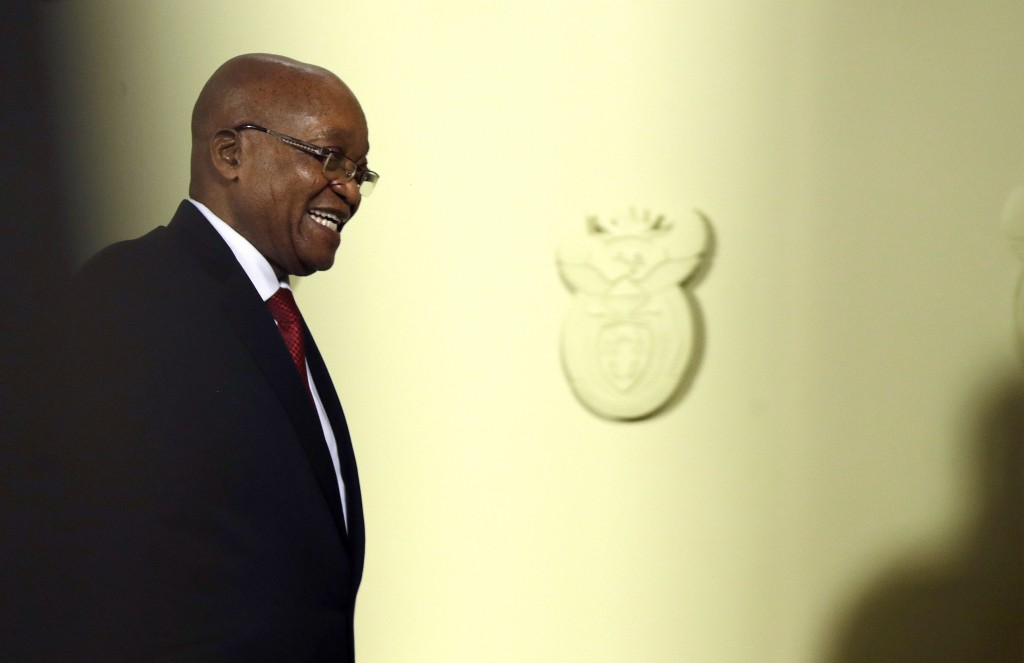 South African President Jacob Zuma leaves after addressing the the nation and the press at the government's Union Buildings in Pretoria, South Africa,