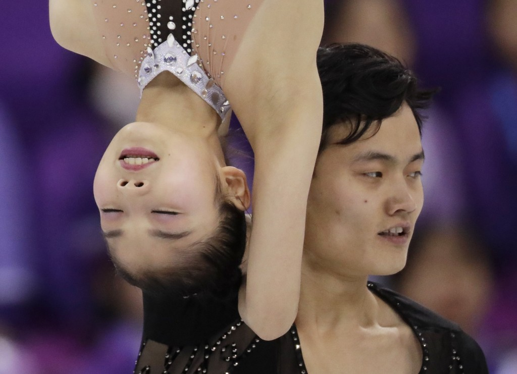 Ryom Tae Ok and Kim Ju Sik of North Korea perform in the pairs free skate figure skating final in the Gangneung Ice Arena at the 2018 Winter Olympics