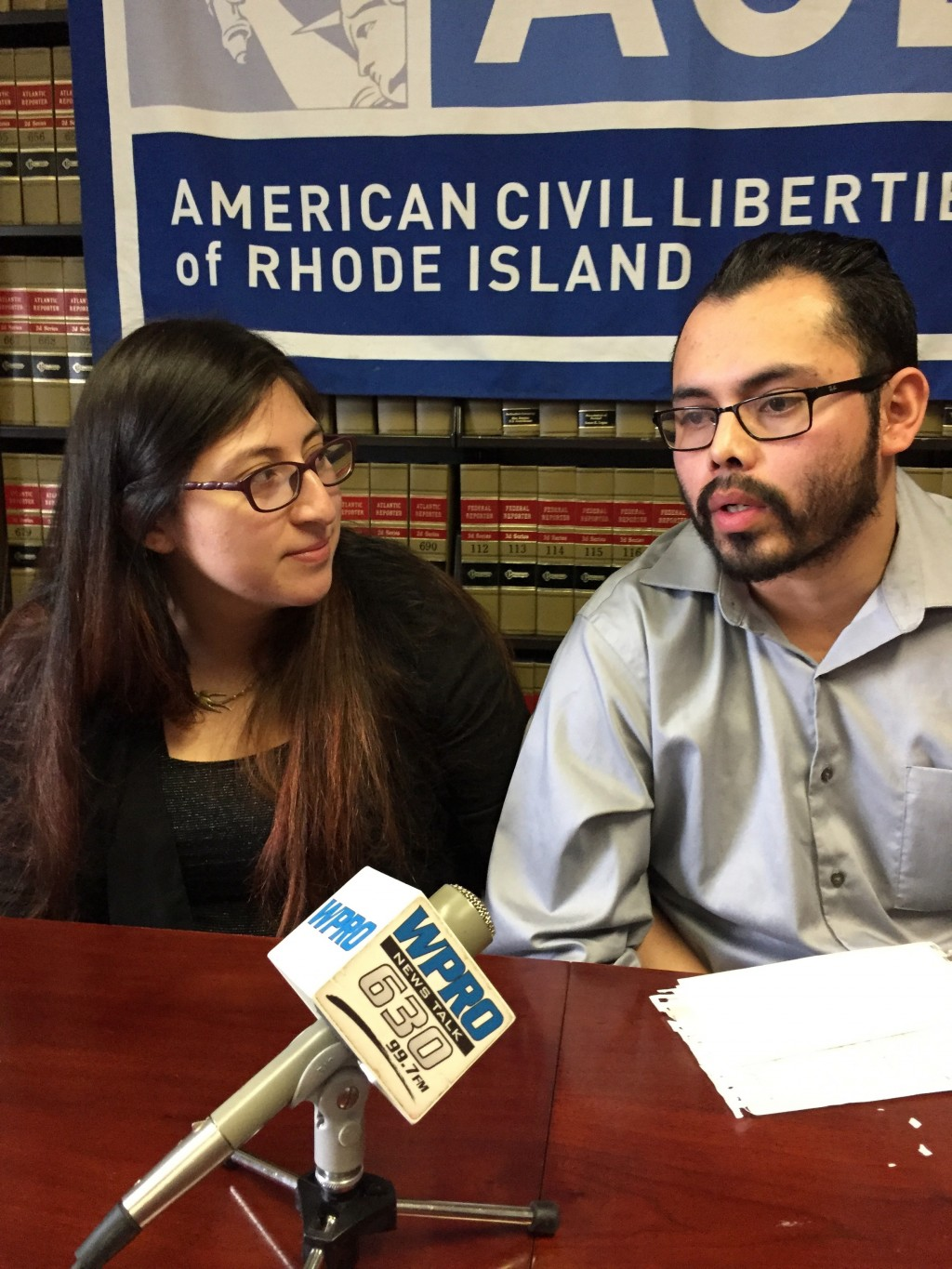 Lilian Calderon, left, and her husband, Luis Gordillo, speak at the office of the American Civil Liberties Union in Providence, R.I., on Wednesday, Fe