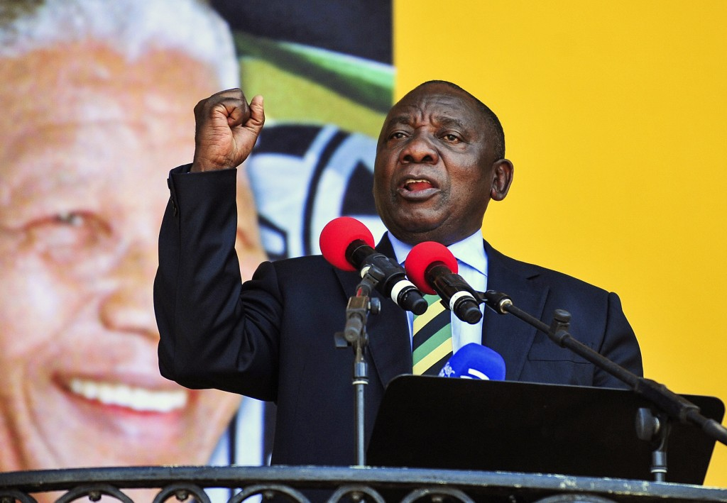 FILE - In this Feb. 11, 2018, file photo, South African Deputy President and African National Congress party President Cyril Ramaphosa delivers a spee
