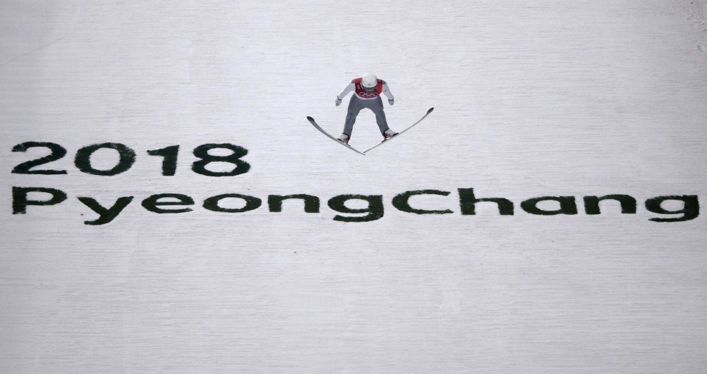 Ondrej Pazout, of the Czech Republic, jumps during the trial jump of the nordic combined at the 2018 Winter Olympics in Pyeongchang, South Korea, Wedn