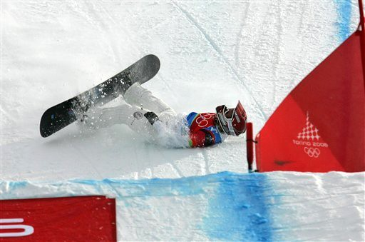 FILE - In this Feb. 17, 2006 file photo American Lindsey Jacobellis who was leading in the final of the Women's Snowboard Cross competition, crashes i