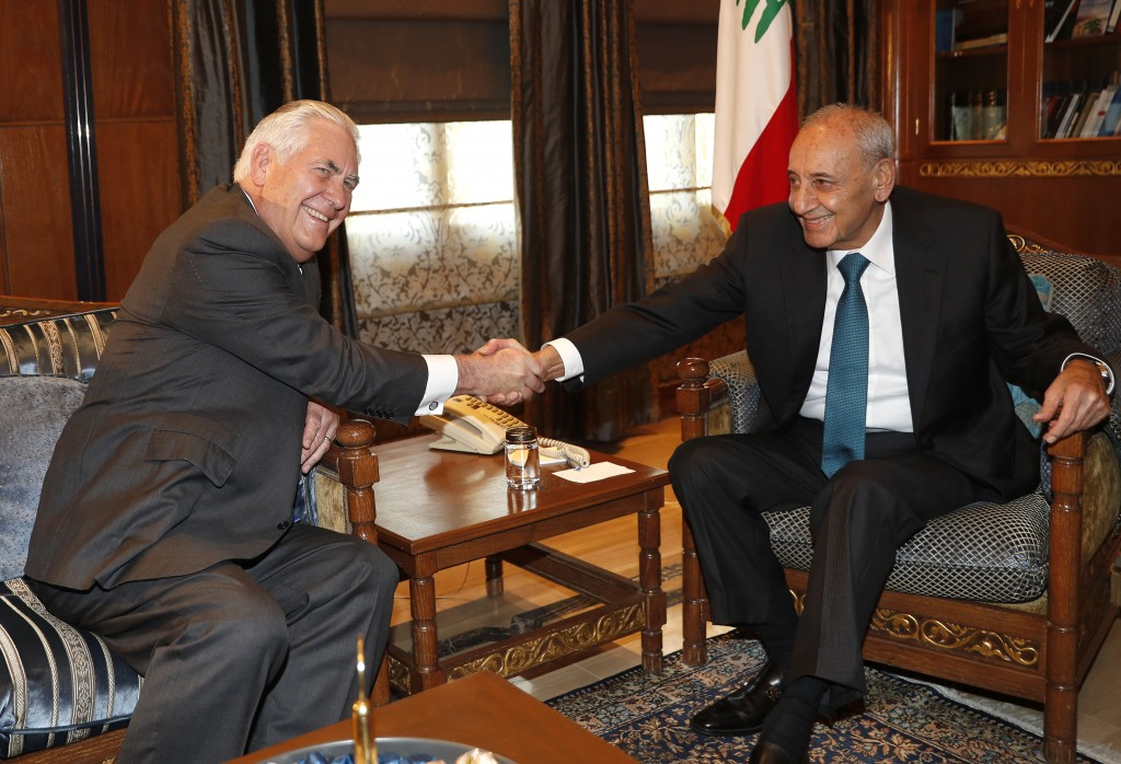 Lebanese Parliament Speaker Nabih Berri, right, shakes hands with U.S. Secretary of State Rex Tillerson, left, at Berri's house, in Beirut, Lebanon, T