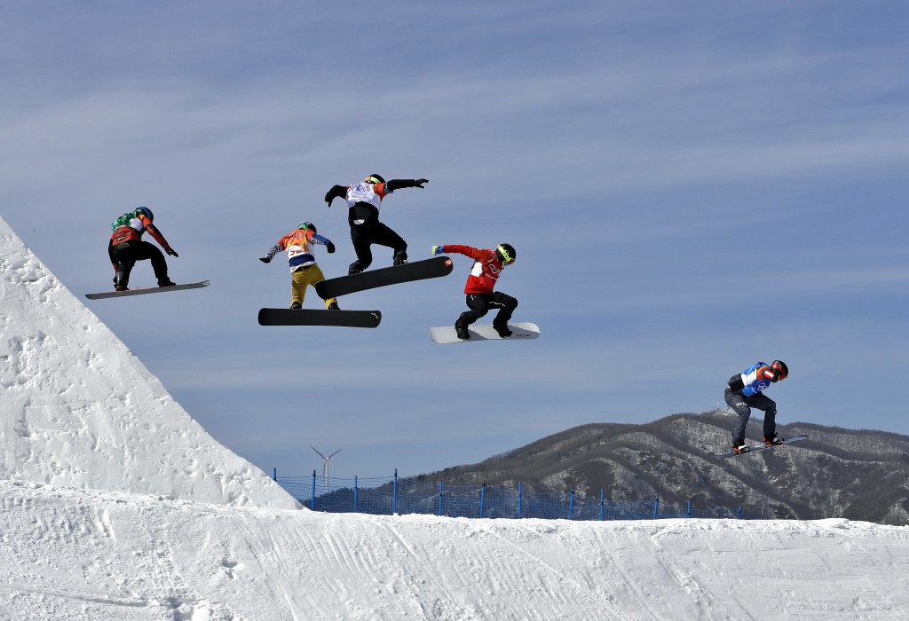 Kalle Koblet, of Switzerland, Jan Kubicik, of the Czech Republic, Konstantin Schad, of Germany, Kevin Hill, of Canada, and Alessandro Haemmerle, of Au