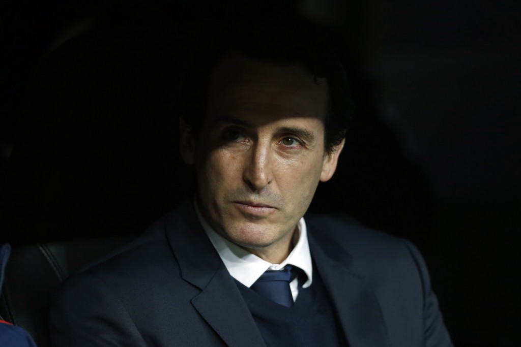 PSG head coach Unai Emery waits prior to a Champions League Round of 16 first leg soccer match between Real Madrid and Paris Saint Germain at the Sant