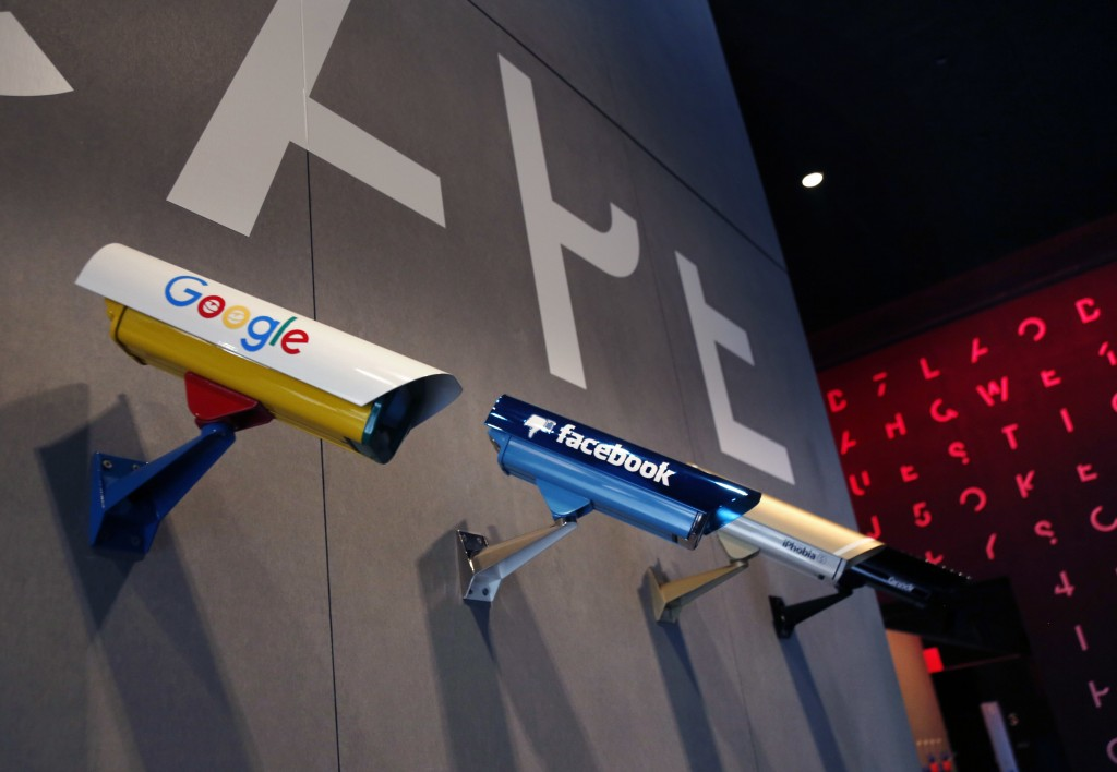 In this Monday, Feb. 12, 2018 photo, an art instillation featuring security cameras is displayed at SPYSCAPE in New York. Visitors to a new attraction