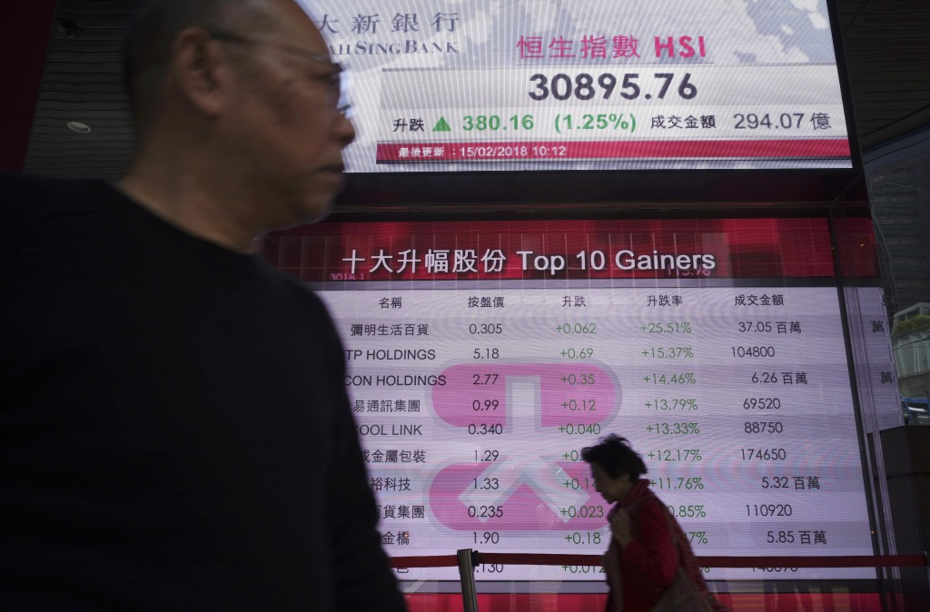 A man walks past an electronic board showing Hong Kong share index outside a local bank in Hong Kong, Thursday, Feb. 15, 2018. Asian shares posted sol