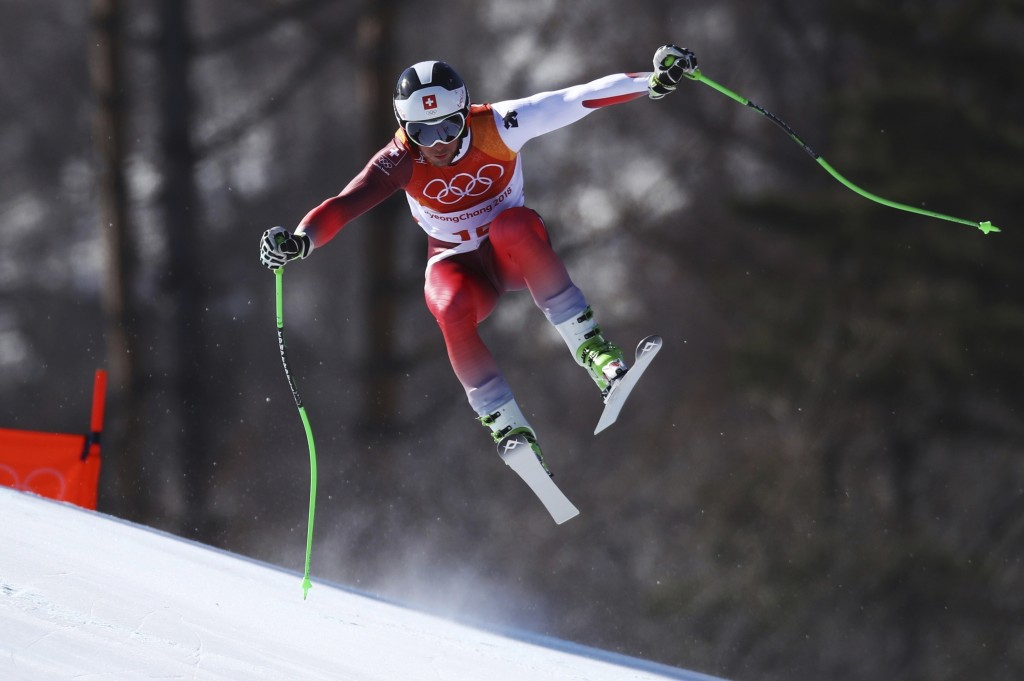Switzerland's Justin Murisier skis during the downhill portion of the men's combined at the 2018 Winter Olympics in Jeongseon, South Korea, Tuesday, F