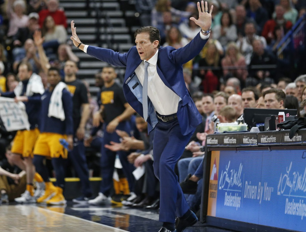 Utah Jazz head coach Quin Snyder reacts in the first half during an NBA basketball game against the Phoenix Suns Wednesday, Feb. 14, 2018, in Salt Lak