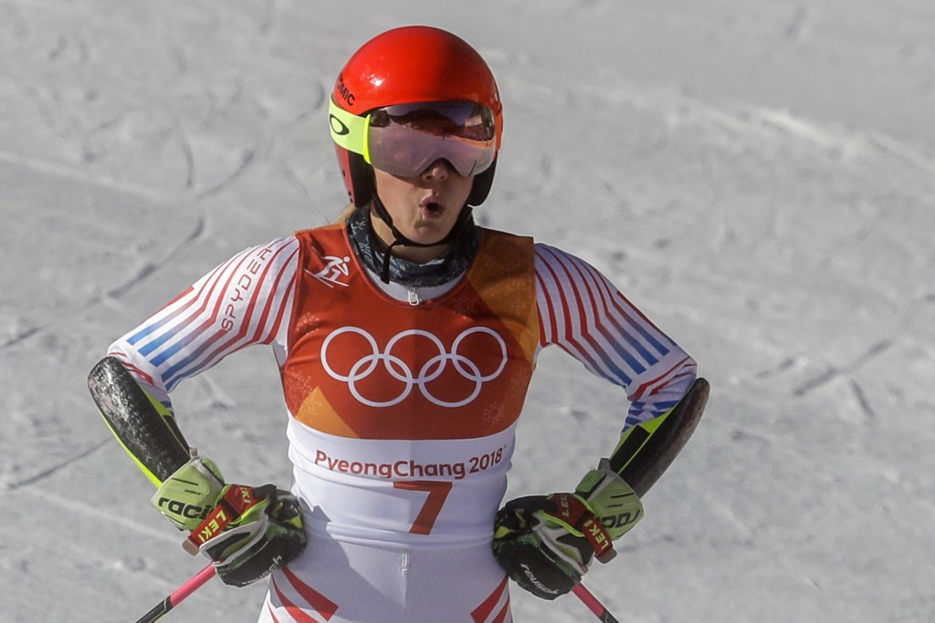 Mikaela Shiffrin, of the United States, reacts to her time during the first run of the Women's Giant Slalom at the 2018 Winter Olympics in Pyeongchang