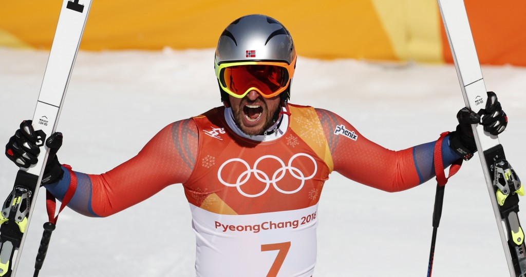 Norway's Aksel Lund Svindal reacts in the finish area of the men's downhill at the 2018 Winter Olympics in Jeongseon, South Korea, Thursday, Feb. 15,