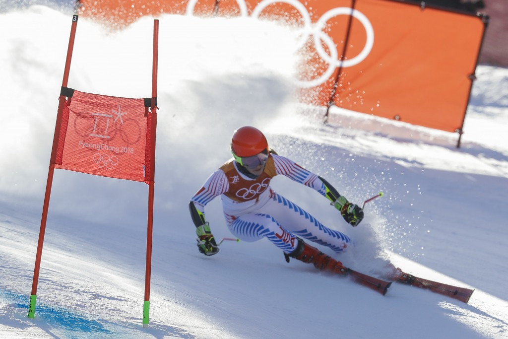 Mikaela Shiffrin, of the United States, attacks the gate during the first run of the Women's Giant Slalom at the 2018 Winter Olympics in Pyeongchang,