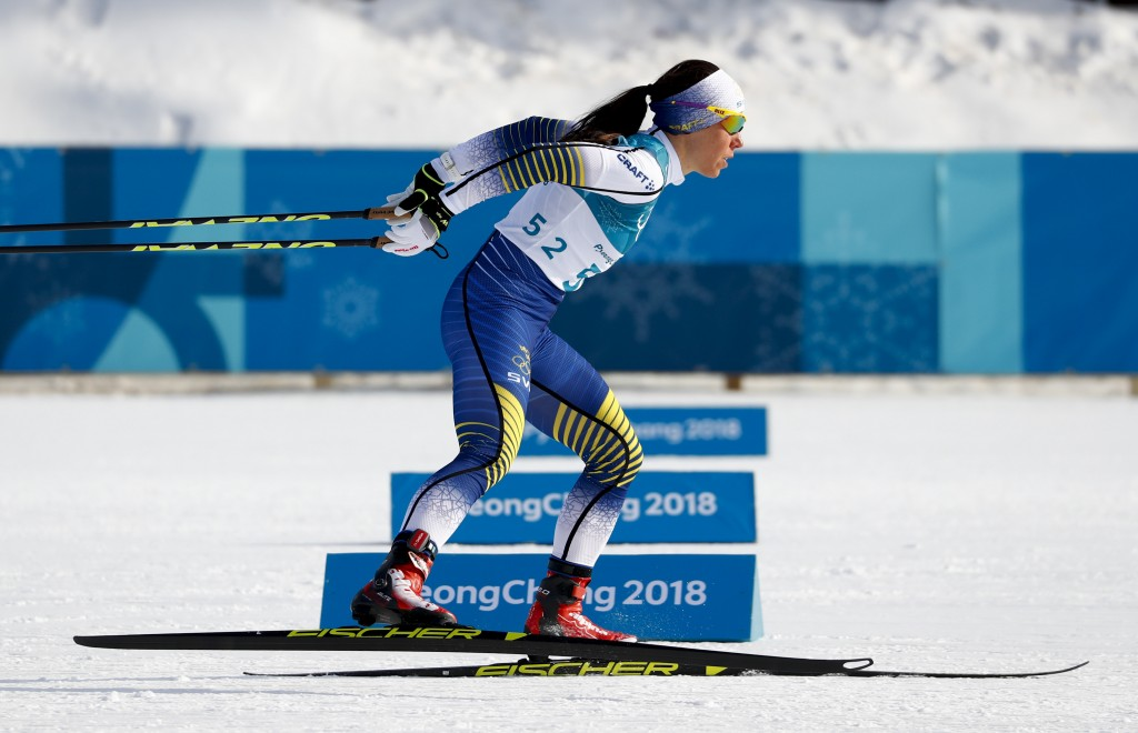 Charlotte Kalla, of Sweden, competes during the women's 10km freestyle cross-country skiing competition at the 2018 Winter Olympics in Pyeongchang, So