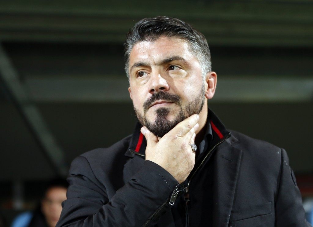 FILE - In this Dec. 7, 2017 file photo, AC Milan head coach Gennaro Gattuso looks from the bench ahead of the group D Europa League soccer match betwe