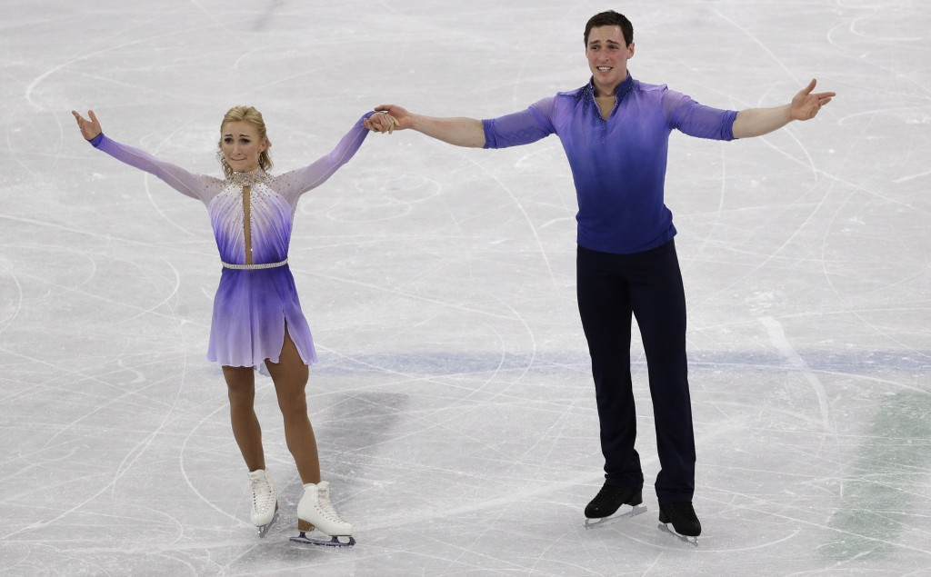 Aljona Savchenko and Bruno Massot of Germany perform in the pairs free skate figure skating final in the Gangneung Ice Arena at the 2018 Winter Olympi