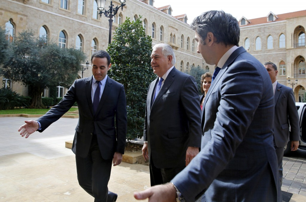 U.S. Secretary of State Rex Tillerson, center, arrives at the Government House to meet with Lebanese Prime Minister Saad Hariri, in downtown Beirut, L
