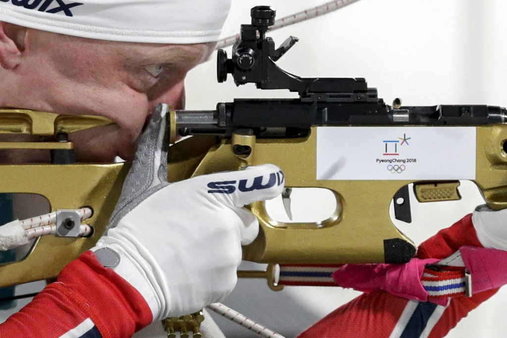 Johannes Thingnes Boe, of Norway, shoots during the men's 20-kilometer individual biathlon at the 2018 Winter Olympics in Pyeongchang, South Korea, Th