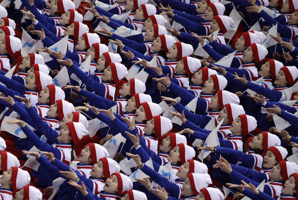 Supporters from North Korea cheer before the preliminary round of the men's hockey game between the Czech Republic and South Korea at the 2018 Winter