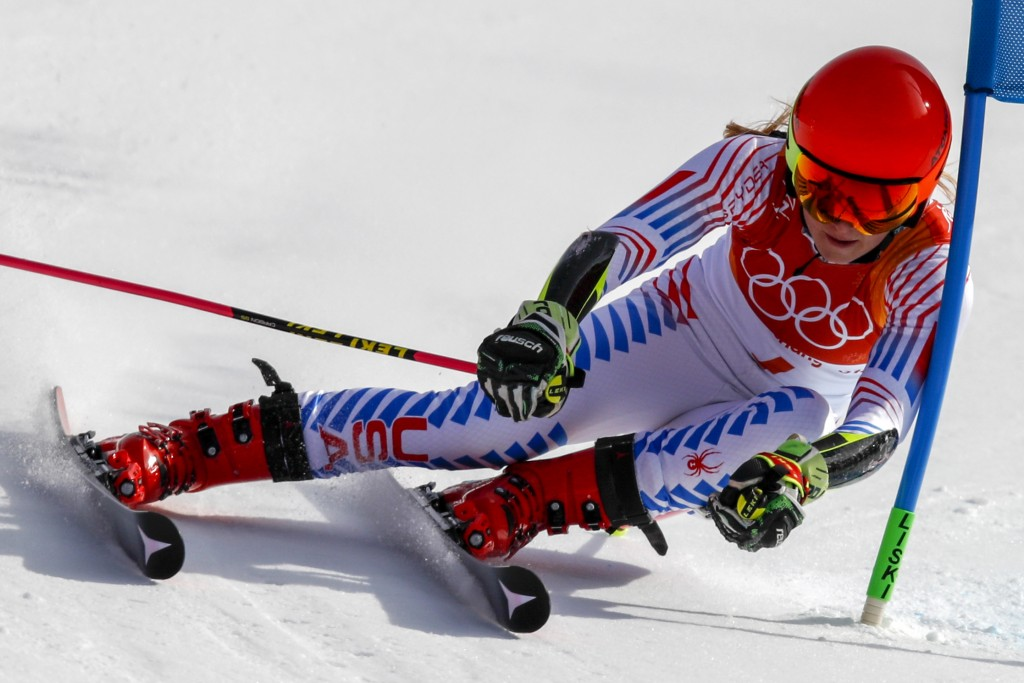 Mikaela Shiffrin, of the United States, attacks the gate during the second run of the Women's Giant Slalom at the 2018 Winter Olympics in Pyeongchang,