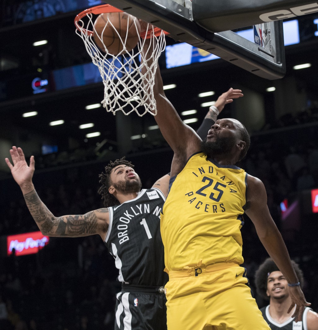 Indiana Pacers center Al Jefferson (25) goes to the basket against Brooklyn Nets guard D'Angelo Russell (1) during the first half of an NBA basketball