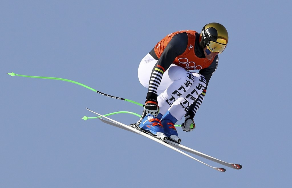 Germany's Thomas Dressen makes a jump in Men's Downhill training at the 2018 Winter Olympics in Jeongseon, South Korea, Thursday, Feb. 8, 2018. (AP Ph