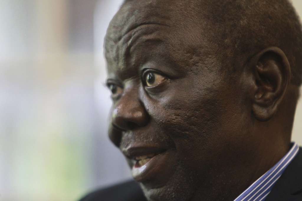 FILE -- In this Nov. 30, 2016 file photo, Zimbabwe's main opposition leader Morgan Tsvangirai is photographed during an interview with the Associated