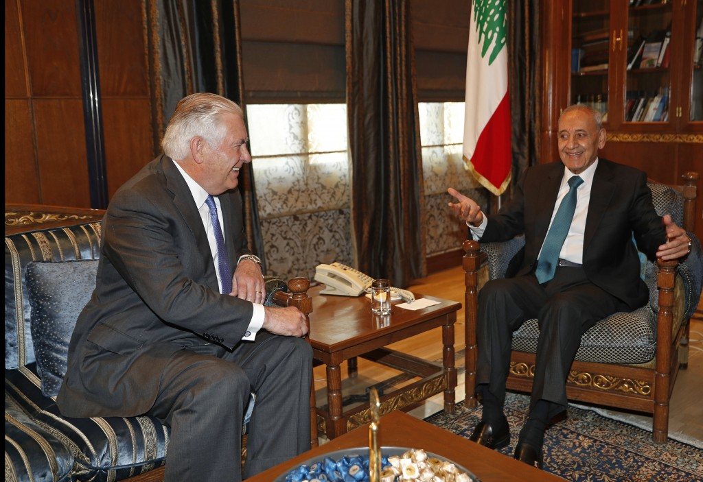 Lebanese Parliament Speaker Nabih Berri, right, meets with U.S. Secretary of State Rex Tillerson, left, at Berri's house, in Beirut, Lebanon, Thursday