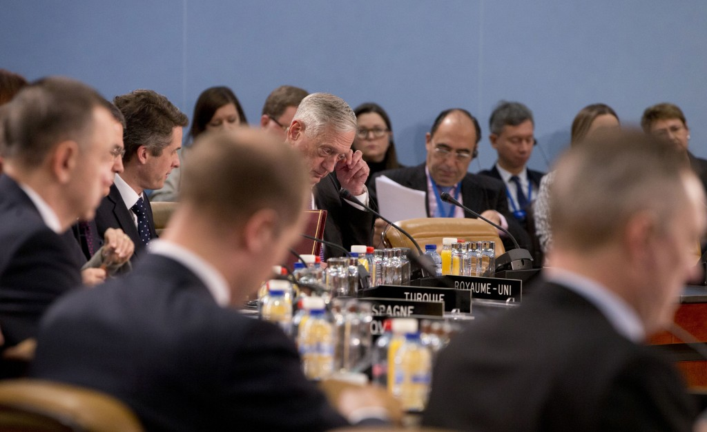 U.S. Secretary for Defense Jim Mattis, center rear, attends a meeting of the North Atlantic Council at NATO headquarters in Brussels on Thursday, Feb.
