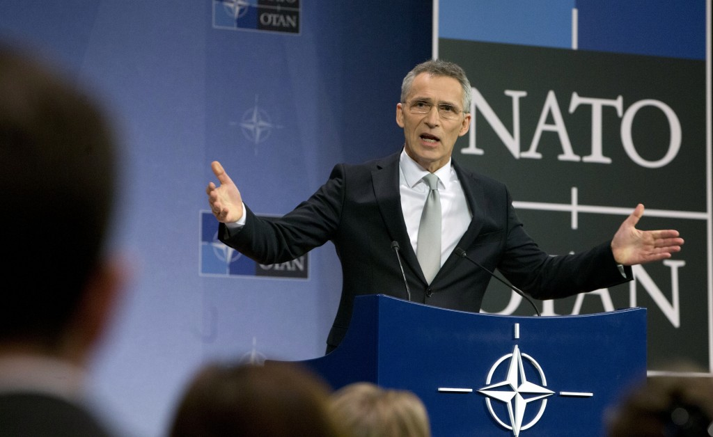 NATO Secretary General Jens Stoltenberg speaks during a media conference after a meeting of NATO defense ministers meeting at NATO headquarters in Bru