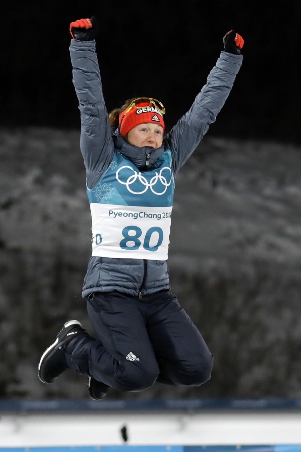 Laura Dahlmeier, of Germany, celebrates her bronze medal during the venue ceremony after the women's 15-kilometer individual biathlon at the 2018 Wint