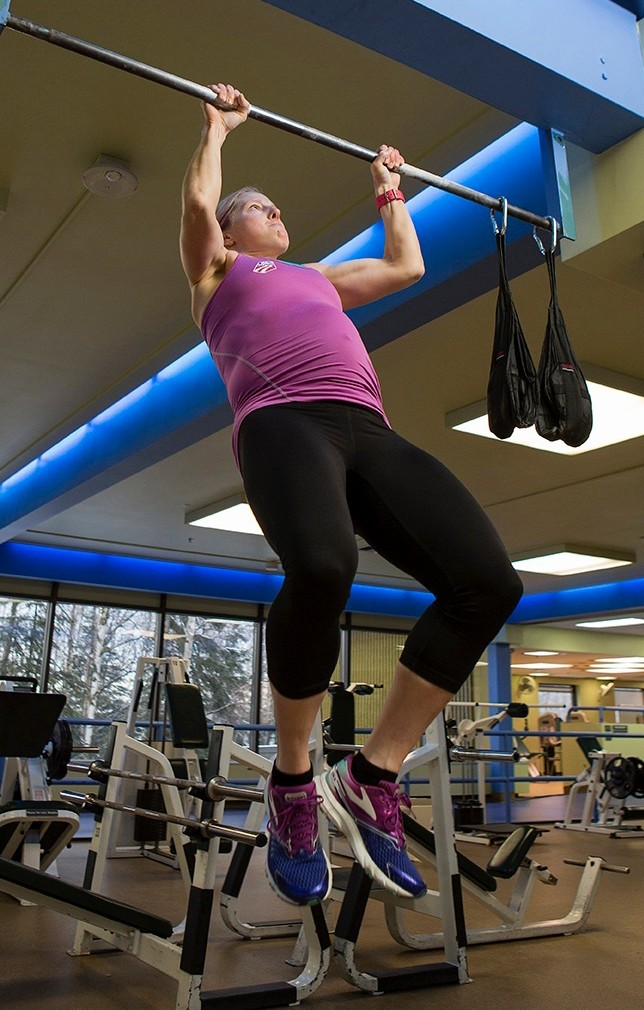 In this 2016 photo provided by Wayde Carroll, U.S. cross-country skier Kikkan Randall trains while pregnant in Anchorage, Alaska. Randall is the only