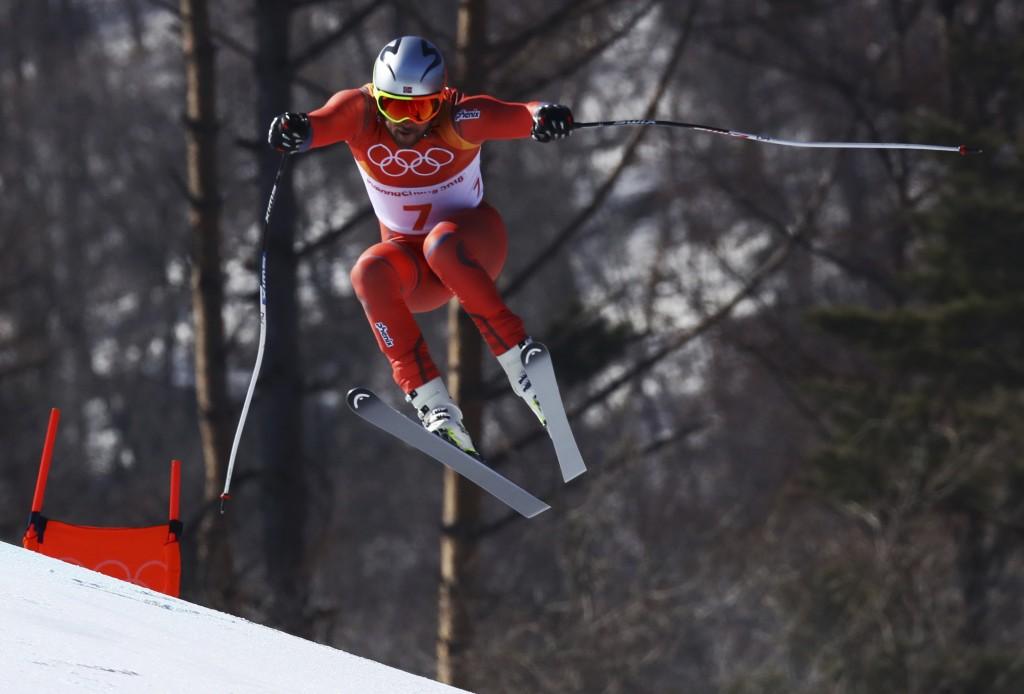 Norway's Aksel Lund Svindal skis during the men's downhill at the 2018 Winter Olympics in Jeongseon, South Korea, Thursday, Feb. 15, 2018. (AP Photo/A